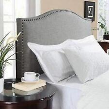 Gray Headboard Full Queen Size Linen Fabric Nailhead Upholster Bedroom Furniture