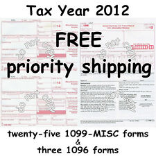 25) 1099-MISC Miscellaneous Income 2012 IRS Tax Forms & 3 1096 Transmittal Forms