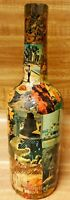 Vintage Mid Century 60s 70s Colorful Folk Art Decoupage Collage Memory Bottle
