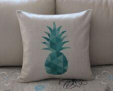 Turquoise Geometries Pineapple Cotton Linen Cushion Cover Throw Pillow Decor 666