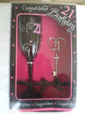 21st Birthday - wine glass and frame