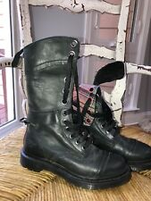 Dr Doc Martens Triumph 12 eye Black Gray Pink Plaid Leather Boots Women's 8 6UK