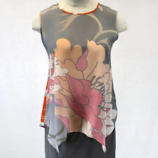 NEW NWT Cocoon House Wearable Art Nuance 100% Silk Crepe Shell Blouse Large/XL