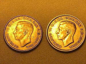 Australien - 2x 2 Schilling - 1946 1947 - Florin - Silbermünzen - Silber