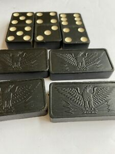 Vintage Magna Dominoes Set Black Lightweight Eagle Dominos Game