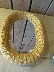 Vintage Natural Wicker Oval Wall Hanging Mirror Boho