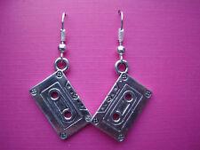 Funky Silver Tape Earrings Kitsch Retro Disco 80s Pop Rock Music Cool Novelty UK