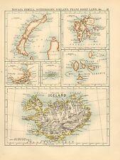 1892 Vittoriano MAP ~ novaia zemlia Spitzberg Islanda Franz Josef Land