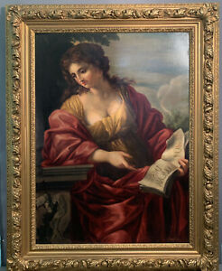 LG 19thC Antique GREEK MYTHOLOGY Lady CUMEAN SIBYL Old PORTRAIT PAINTING & FRAME