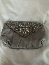 Grey Silver Beaded Clutch Bag With Strap Silky Butterfly