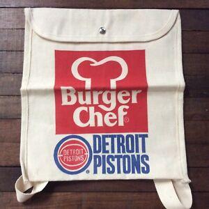 Vintage Burger Chef Restaurant Advertising Backpack Bag Detroit Pistons Rare NOS