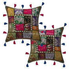 Bohemian Decorative Cushion Covers 40 x 40 cm Embroidered Patchwork Pillow Cases
