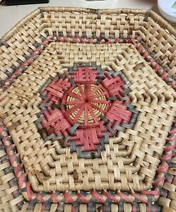 """HUGE Woven Wicker Paper Plate Holders Rattan Bamboo Floral Wall Decor Picnic 15"""""""