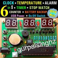 6in1 LED Electronic Digital Temperature Clock DIY Kit Parts Components AT89S52