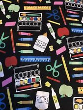 "NEW!!Crayons Paints Scissors Brush ""Arts & Crafts"" School Fabric 18"" X 21"" Cottn"