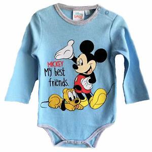 Disney Baby Mickey Mouse Bodysuit Grow Playsuit 100% Cotton Long Sleeve