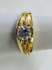 Ring. It Is A Size 7 3/4 Mens 14 Karat Yellow Gold And Cubic Circonia