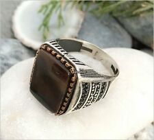 Handmade 925 Sterling Silver Authentic Natural Brown Agate Men's Woman's Ring #8