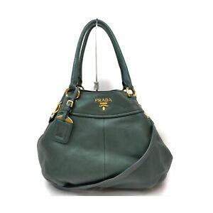Prada Hand Bag  Greens Leather 1525494