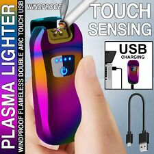 USB Touch Sensor Electric Rechargeable Cigar Lighter WIndproof Dual Arc Flamless