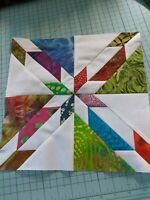 Batik and white Hunter's Star Quilt Blocks