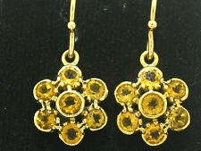 E116- EXQUISITE Genuine 9ct Solid Gold NATURAL Citrine Blossom Earrings Dangle