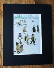 Cat Print Louis Wain Cat Town Races Dog Horse Bookplate Kitten 1983 8x10 Matted