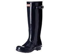 New HUNTER Original Womens Tall Gloss over-calf Boots Navy Size 7 FREE Shipping