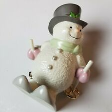 LENOX Holiday Downhill Snowy Skier Snowman Skiing 7 Inch Excellent Condition
