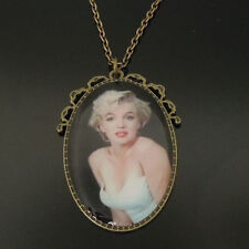 VINTAGE STYLE MARILYN MONROE PICTURE PENDANT NECKLACE BRONZE CHAIN IN GIFT BOX