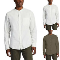 UK Mens Baggy Cotton Linen Solid Long Sleeve Retro T-Shirt Collarless Top Blouse