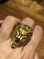 Large Golden Stainless Steel Lion Head Crest Size 14 Men's Ring