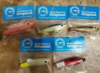 5 RANDOM ASSORTED PAUL BROWN'S ORIGINAL SERIES CORKY FISHING LURE B&L MIRROLURE