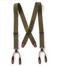 RRL Ralph Lauren Vintage Inspired Military Green Stretch Braces Suspenders-MEN