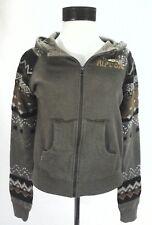 RIP CURL Hoodie Jacket Fair Isle Sweater/Horn Button Brown Zip Womens M $89 RARE