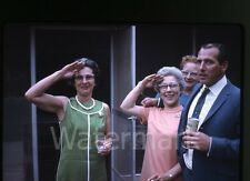 1970 Kodachrome Photo slide Women salute Cigarette and beer Law  Badge