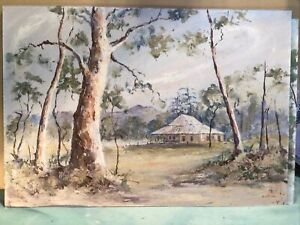 Artist Simpson Titled Country House Oil Painting