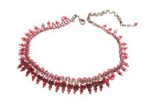 Bejewelled- Ruby Red Gem Centre & Crystal & Bronze Beads Choker Necklace(Zx290)T