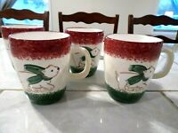 Lot of Four The Cellar Christmas LOG CABIN Polar Bear Accent Mugs 4 1/4 inch
