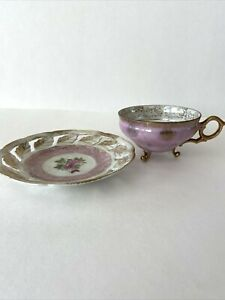 Vintage 3 Footed Gold Rimmed Lavender Roses Purple Tea Cup and Saucer