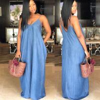 Sexy Women Summer Strap Prom Party Blue Denim Jeans Long Maxi Dress V-neck 3XL