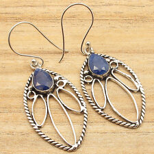 "Silver Plated Personalised Ebay Jewelry Simulated Sapphire Art Earrings 2"" !"