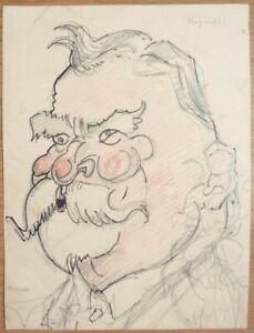 caricature d'homme dessin vers 1930 Reynaldi et Periers
