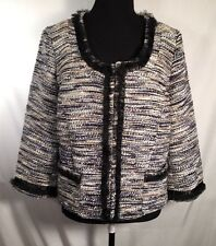 INC International Concepts NWT Tapestry Jacket Blazer Blue Tweed Tulle Lined XL