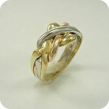 9 quilates Oro cuatro Rompecabezas tres colores anillo