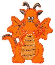 Bügelbild - Drache - orange - 5 cm * 6 cm - Aufnäher Applikation - Dinos - Drach