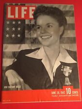 VINTAGE JUNE 29,1942 LIFE MAGAZINE FEATURING USO VICTORY BELL IN VN CONDITION