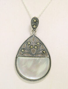 NEW Sterling Silver Mother of Pearl Half Circle Marcasite Open Pendant w/ Chain