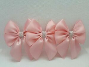 6 Pack Satin Bows Self Adhesive Craft Sew Baby Shower Blue Pink Silver Bows UK