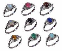 Handmade 925 Solid Sterling Silver Ring Natural Multi Gemstones US Size JR24